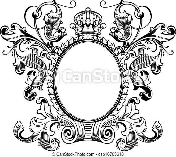 Antique Frame Engraving, Scalable And Editable Vector Illustration - csp16703618