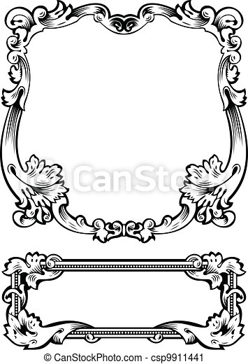 Antique Frame Engraving, Scalable And Editable Vector Illustration - csp9911441