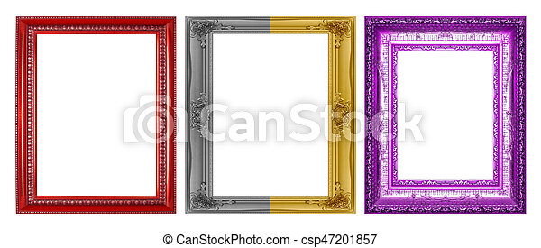 Antique frame isolated on a white background - csp47201857