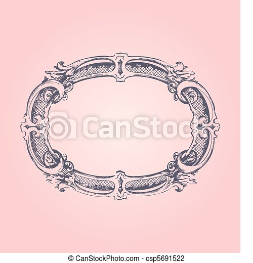 antique frame on pink - csp5691522