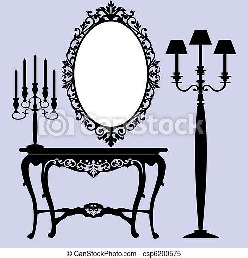 Antique Furniture Interior Scene With