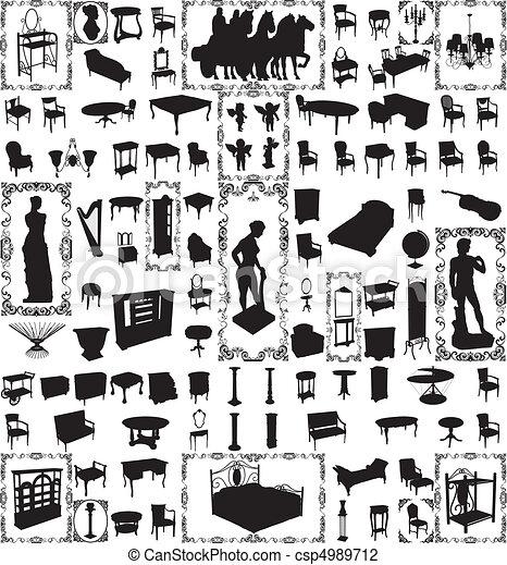 Antique Furniture Hundred Vector  - csp4989712
