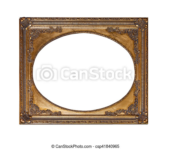 Antique gold frame for painting isolated on white background.