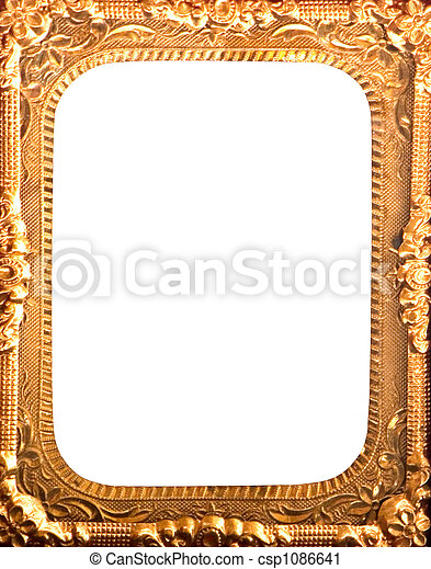 Antique gold metal frame. Gold metal picture frame empty inside.