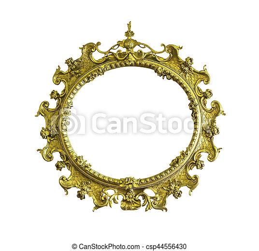 Antique golden ellipse frame isolated - csp44556430