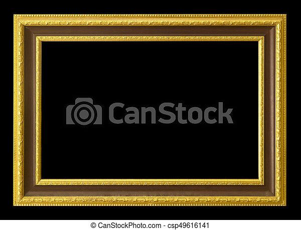Antique golden frame isolated on black background/gold photo ...