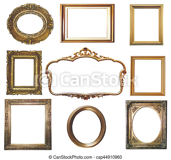 Antique golden frame isolated on white background - csp44910960