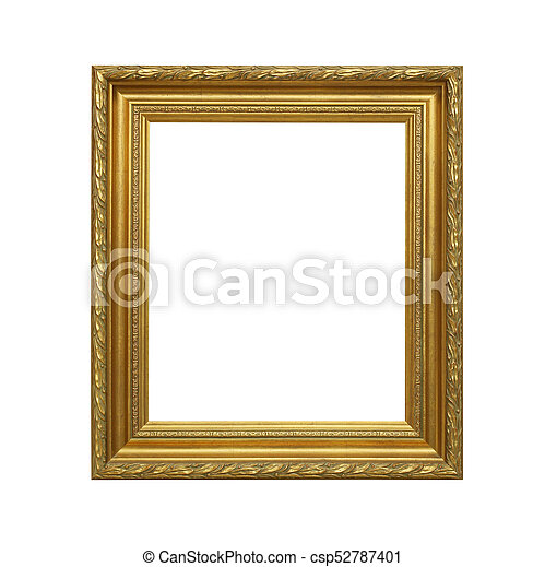 antique golden frame isolated on white background - csp52787401