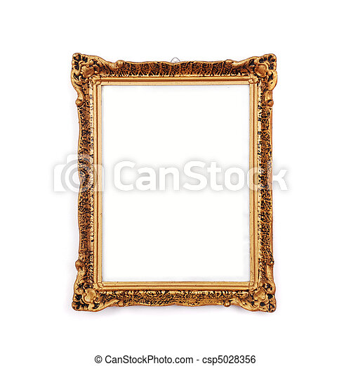 Antique golden frame, isolated  - csp5028356