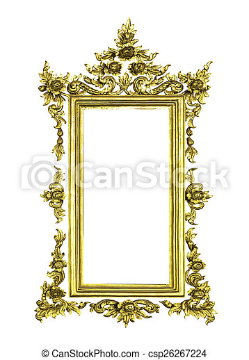 Antique golden frame isolated - csp26267224