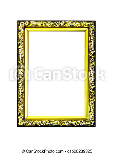 Antique golden frame isolated - csp28239325
