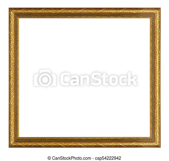antique golden frame isolated - csp54222942