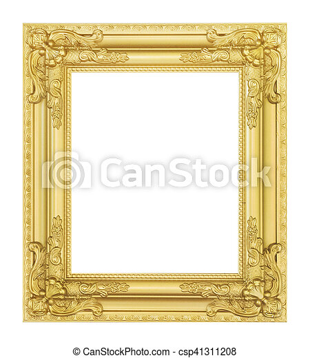 antique golden frame isolated - csp41311208