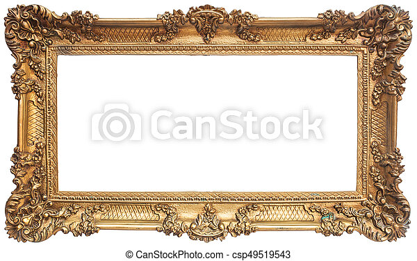 Antique golden frame isolated on white background.