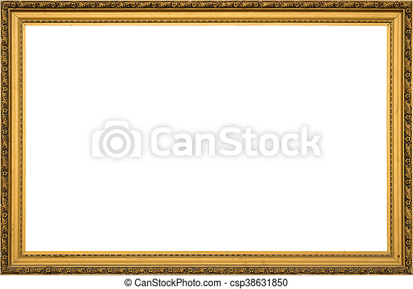 antique golden wooden frame isolated on white background - csp38631850