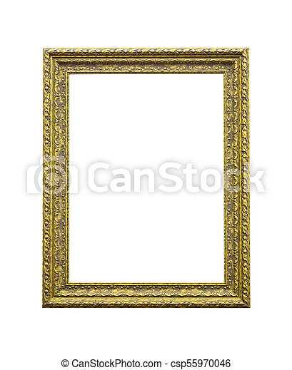 Antique golden wooden frame isolated on white - csp55970046