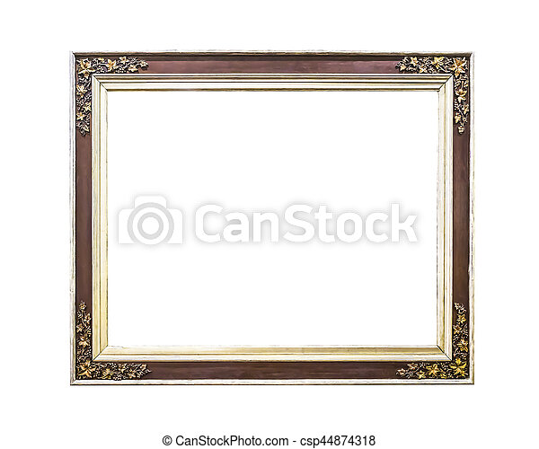 Antique golden wooden  frame isolated - csp44874318