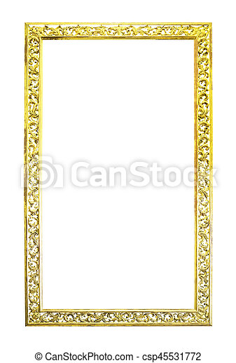 Antique golden wooden frame isolated - csp45531772
