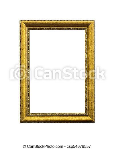 Antique golden wooden frame isolated - csp54679557