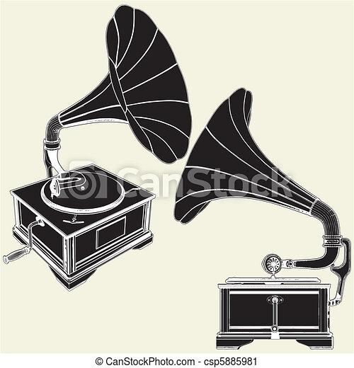Antique Gramophone - csp5885981