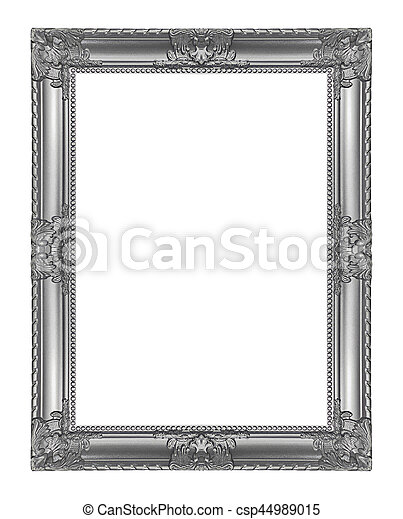 Antique gray frame isolated on white background, clipping path - csp44989015