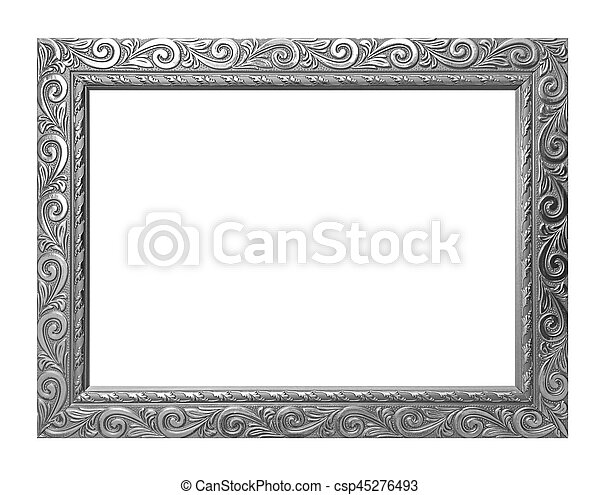 Antique gray frame isolated on white background, clipping path - csp45276493