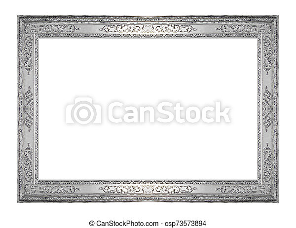 Antique gray frame isolated on white background, clipping path - csp73573894