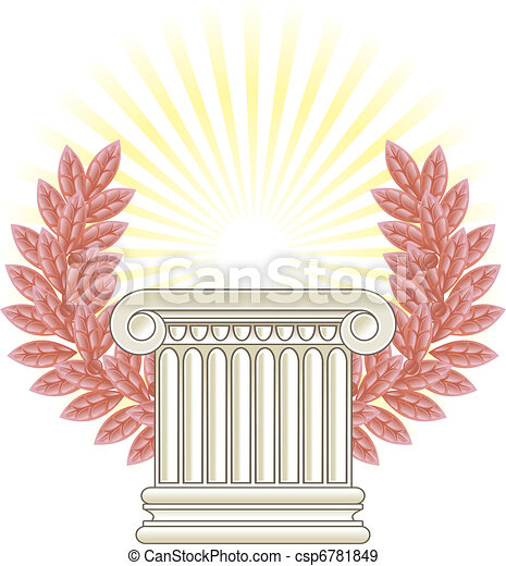 Antique Greek Column and bronze Laurel. - csp6781849