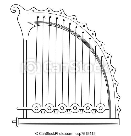 antique Greek Lyra - vector - csp7518418