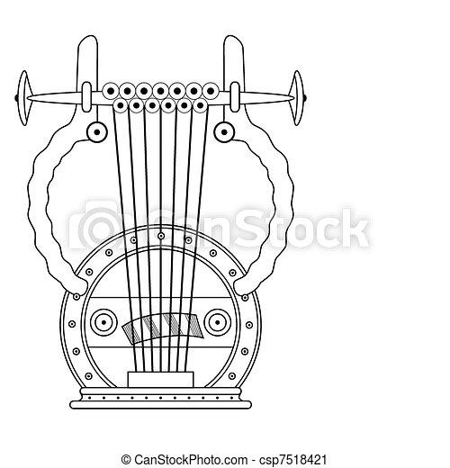 antique Greek Lyra - vector - csp7518421