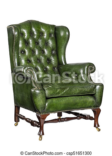 Sensational Antique Green Leather Wing Chair Carved Legs Isolated Camellatalisay Diy Chair Ideas Camellatalisaycom