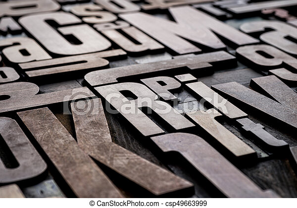 Antique grungy letterpress wood type printing blocks - csp49663999