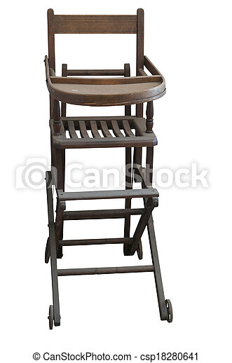 Antique Highchair An Antique Wooden High Chair On A White Background
