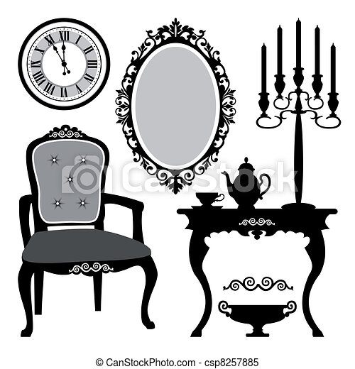 antique interior objects set of antique decorative clipart rh canstockphoto com antique clip earrings antique clip on earrings