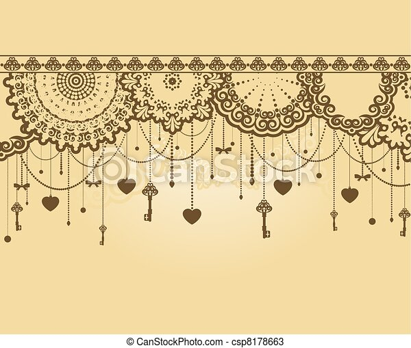 Antique Key tapestry background - csp8178663