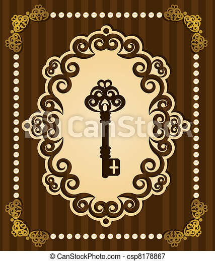 Antique Key tapestry background. - csp8178867