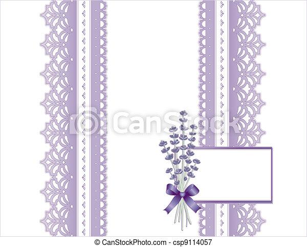Antique Lace, Lavender Flower, Card - csp9114057