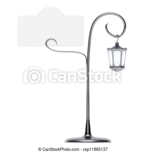 Antique lamp post with card holder isolated - csp11865137