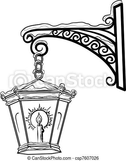 antique lantern contour vintage street lamp glowing in the clip rh canstockphoto com antique clipart free antique clip art images