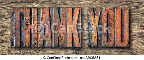 Antique letterpress wood type printing blocks - Thank you - csp33938651
