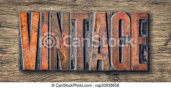 Antique letterpress wood type printing blocks - Vintage - csp33938656