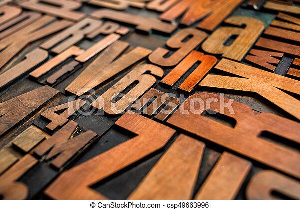 Antique letterpress wood type printing blocks - csp49663996