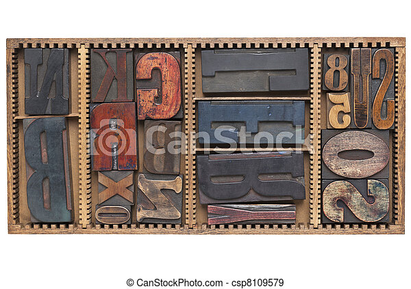 antique letters and numbers - csp8109579