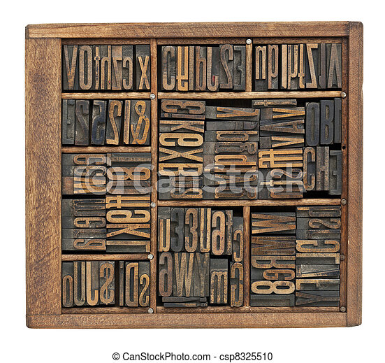 antique letters, numbers and ligature - csp8325510