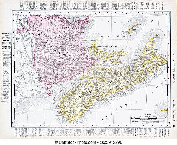 Antique Map Canadian Maritime Provinces, Canada - csp5912290