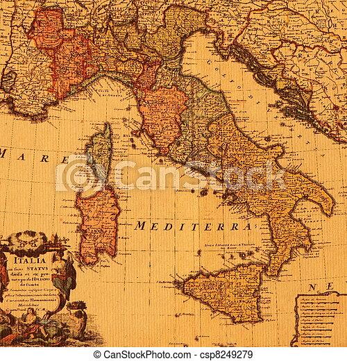 antique map of Italy - csp8249279