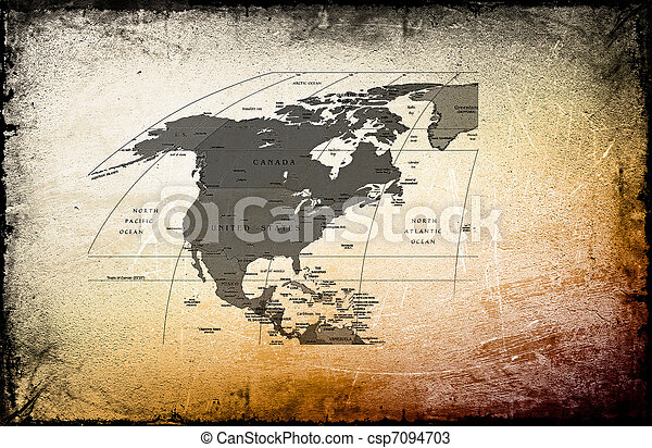 Antique map of the America, Canada, Mexico on ancient background - csp7094703