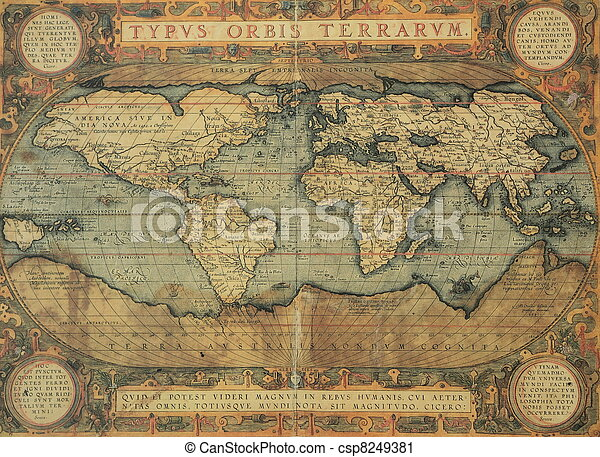 antique map of the world - csp8249381