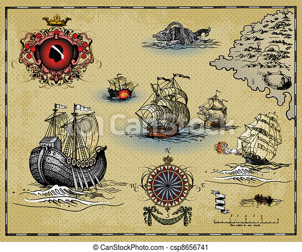 Antique Map Vector Illustration Of Old Antique Map Vector Clip - Antiques us maps with compass
