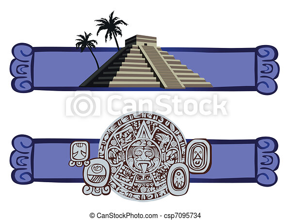 Antique Mayan Pyramid and Glyphs  - csp7095734